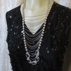 Unknown Jewelry - Long Boho Rhinestone Chain Statement Necklace